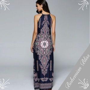 Dresses & Skirts - Bohemian Side Slit Tribal Maxi Dress Blue Purple